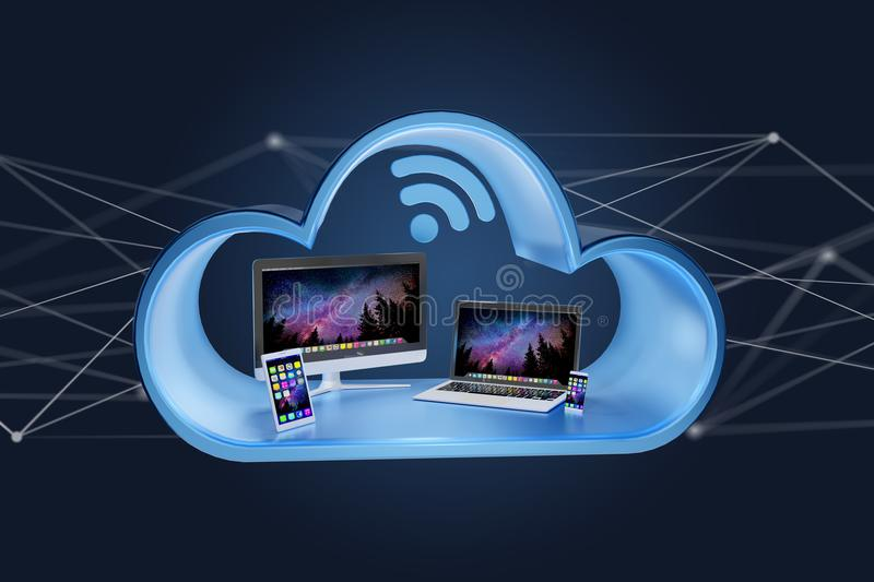 Devices like smartphone, tablet or computer displayed in a cloud. View of Devices like smartphone, tablet or computer displayed in a cloud- 3d render royalty free stock image