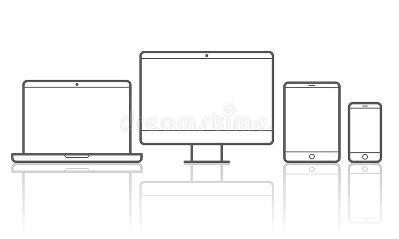 Devices vector line icons for responsive design. Devices line icons vector set for responsive design of smartphone, computer laptop or tab pad stock illustration