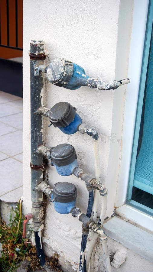 Devices for measuring. Water consumption stock image