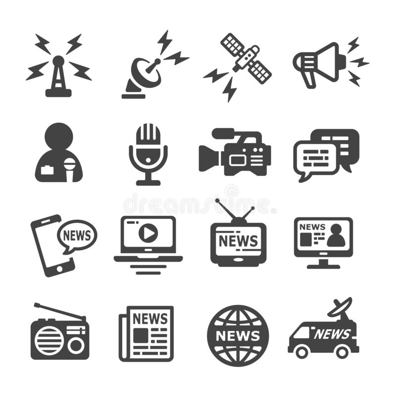 News icon set. Vector and illustration royalty free illustration