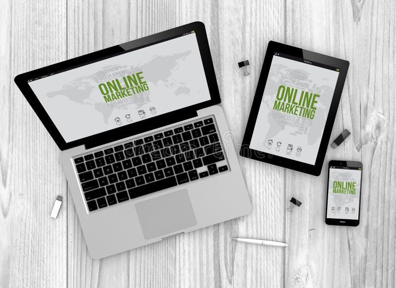 Devices online marketing stock illustration