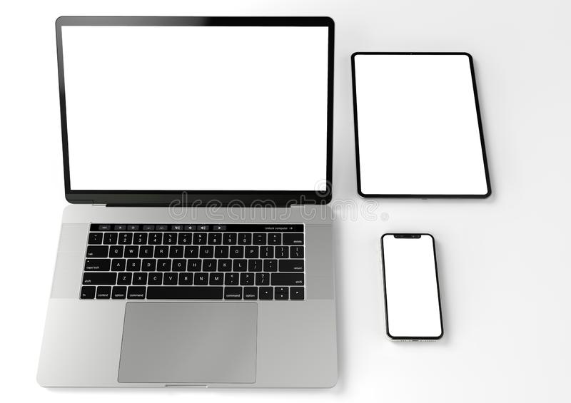 Devices for Responsive site mock-up laptop, phone, tablet stock illustration