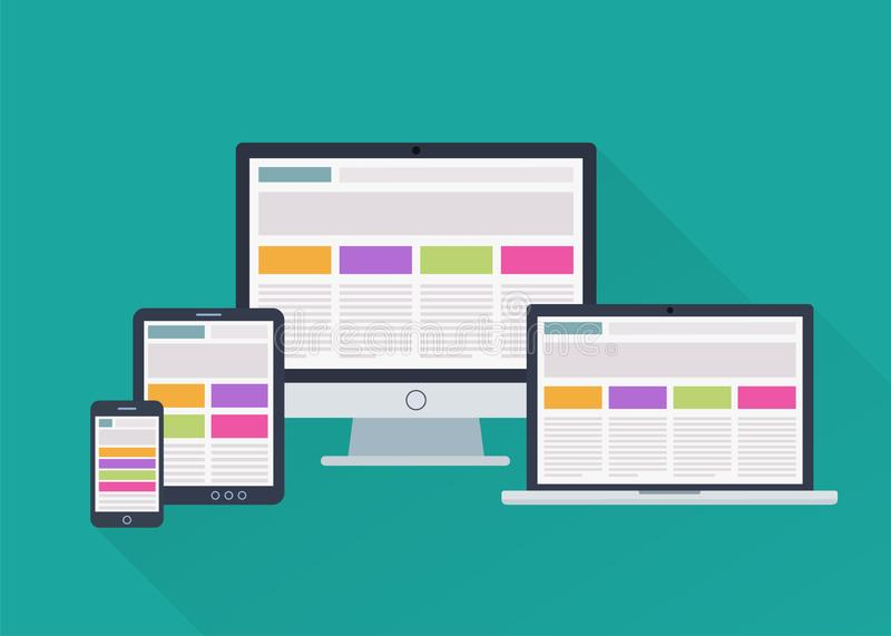 Devices responsive web design. Adaptive responsive webdesign on different electronic devices. Vector illustration in flat style royalty free illustration