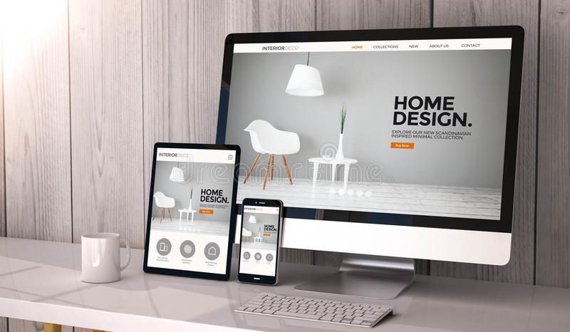 Devices responsive on workspace cool website design. Digital generated devices on desktop, responsive interior design website design on screen. All screen royalty free illustration