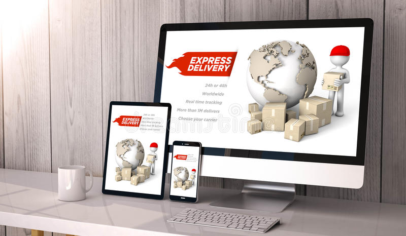 Devices responsive on workspace express delivery online royalty free illustration