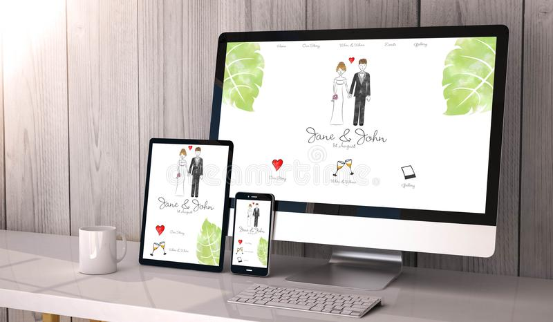 devices responsive on workspace wedding website design royalty free illustration