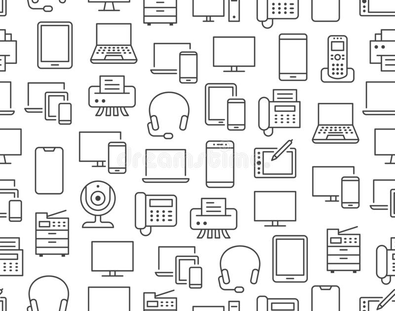 computer and device line icons stock vector