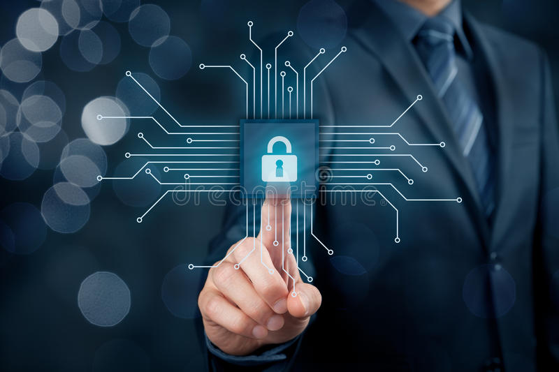 IT devices security. Information technology devices security concept. Businessman click on button in simplified design of chip, connected with abstract devices royalty free stock image
