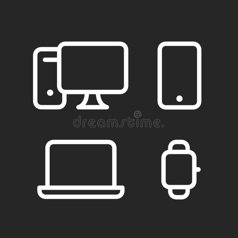 Devices set, desktop computer, smartphone, laptop and smartwatch fat line style icons royalty free illustration