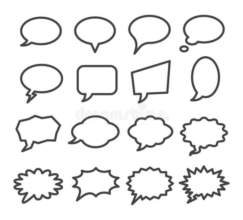 Speech bubble icon set. Vector and illustration royalty free illustration