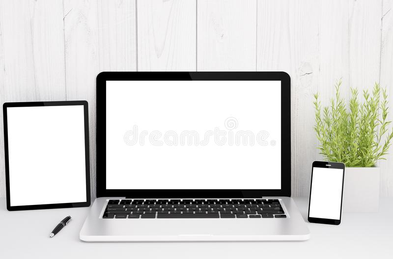 Devices on table with blank screen. 3d rendering of devices on table with rblank screen royalty free illustration