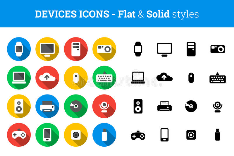 Devices and technology icons – flat and solid style vector illustration