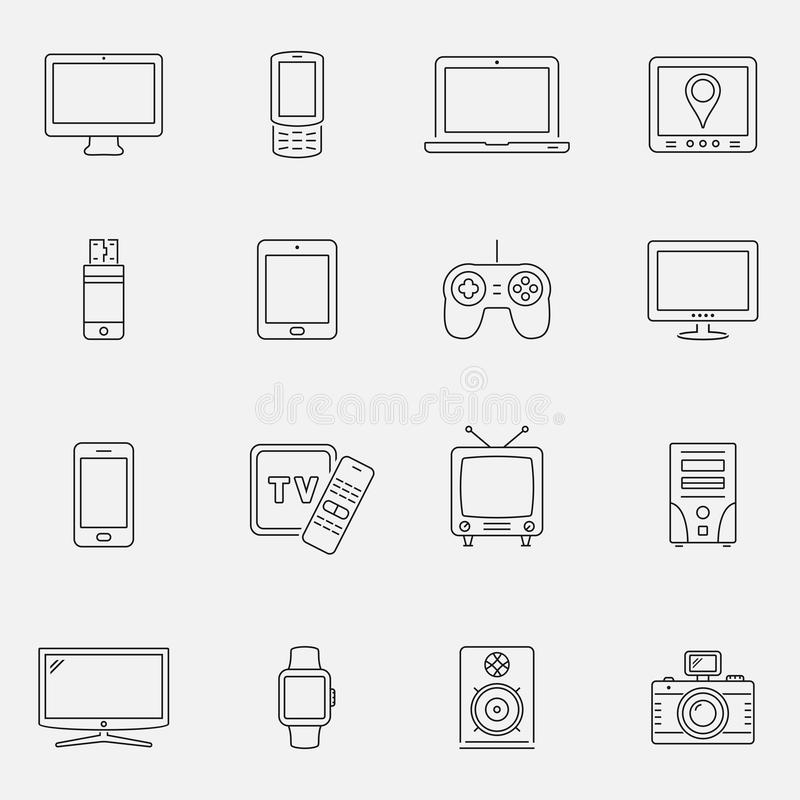 Devices and technology icons set, thin line style vector illustration