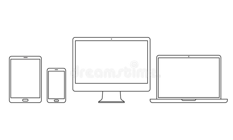 Devices vector line icons for responsive design royalty free illustration