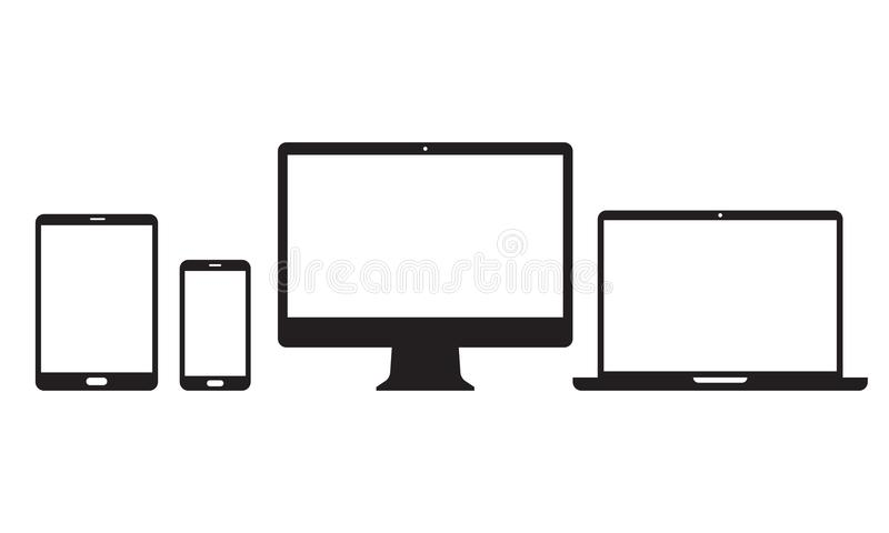 Devices vector line icons for responsive design. Devices icons for responsive design. Vector electronic appliances line set of mobile phone or smartphone stock illustration