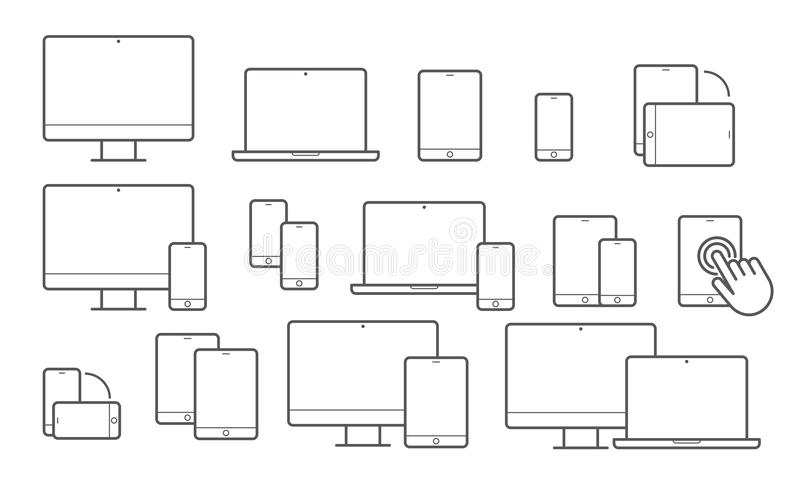 Devices vector line icons for responsive design vector illustration