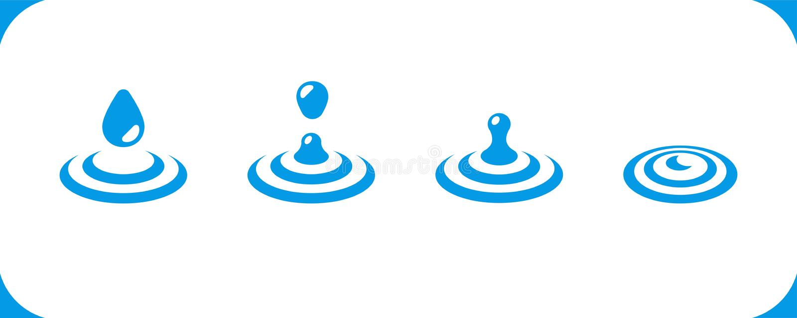 Water icon set. Water drop on water surface icon set,vector and illustration stock illustration