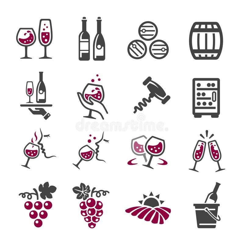 Wine icon set. Vector and illustration royalty free illustration