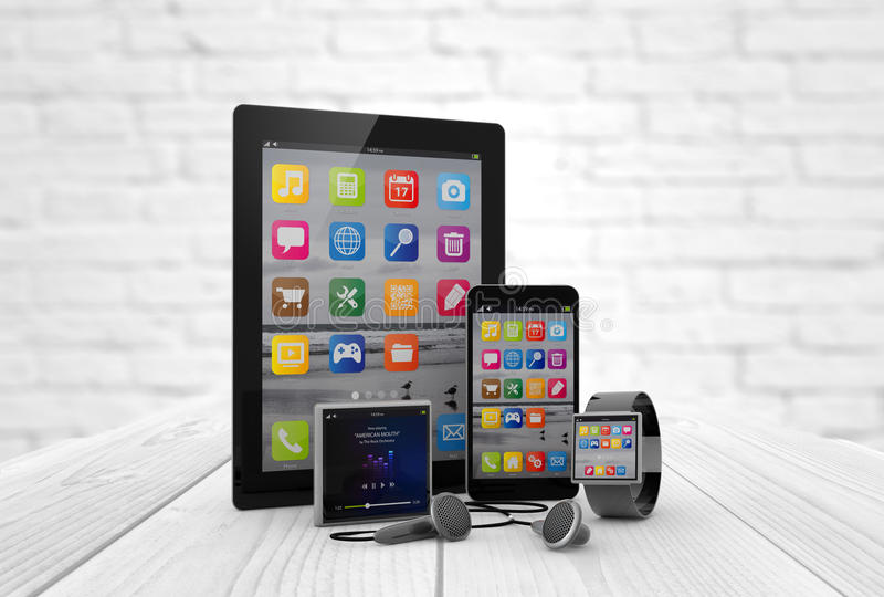 Devices on a wooden desk. Digital generated devices over white wooden desk. All screen graphics are made up royalty free illustration