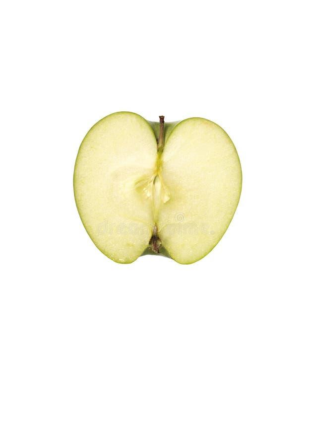 Devides Apple. Devided apple, anatomy apple background cut flesh fruit half in life pulp still studio vitamines white royalty free stock photography