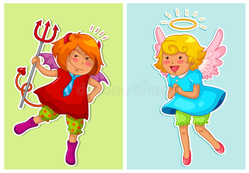 Download Devil and angel stock vector. Image of evil, full, cheerful - 28660672