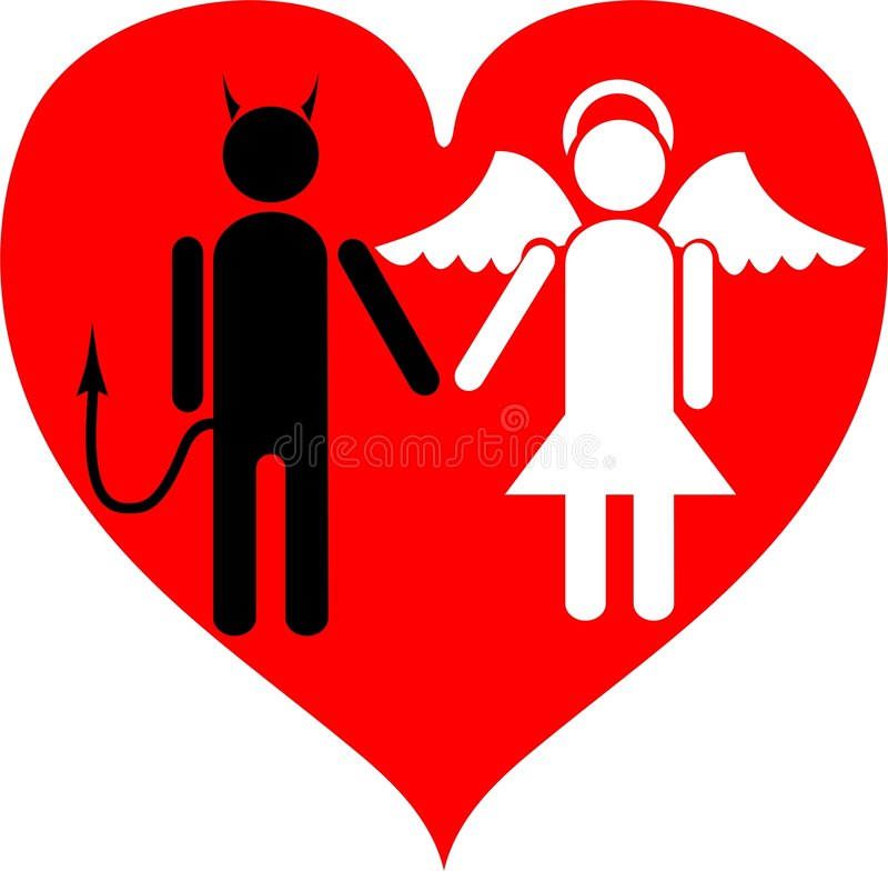 Devil and Angel. It is love. A vector illustration. It is isolated on a white background