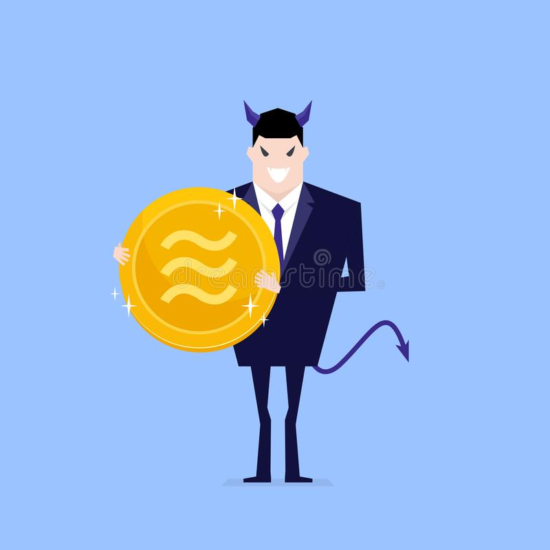 Devil businessman holding Libra coin in hand. stock illustration