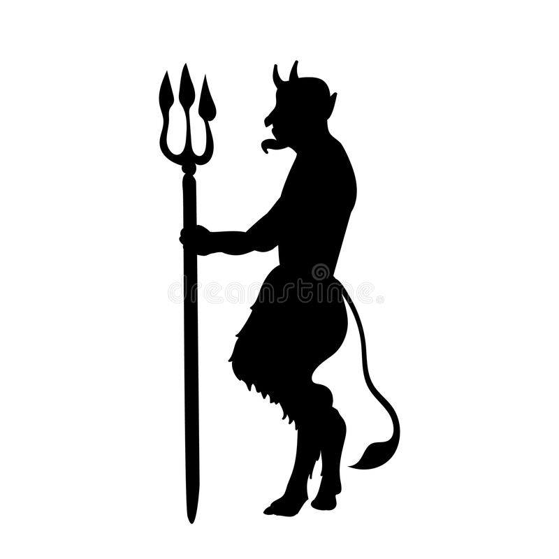 Devil demon religion trident silhouette ancient mythology. Vector illustration vector illustration
