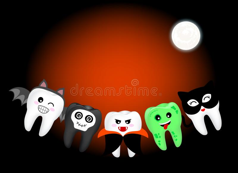 Funny cute cartoon tooth character. Devil, Dracula, bat, black cata nd zombie in moon night. Happy Halloween concept. Design for banner, poster, greeting card vector illustration