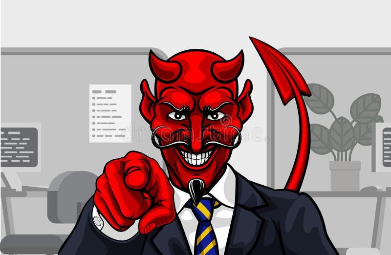 Devil Evil Businessman in Suit Pointing vector illustration