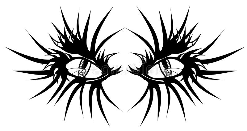 Devil eyes tattoo. Image representing devils eyes, usable as tattoo, but also to decorated shirt royalty free illustration