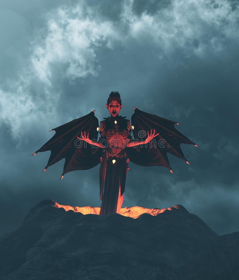 Devil flying out from crater. 3d illustration royalty free illustration