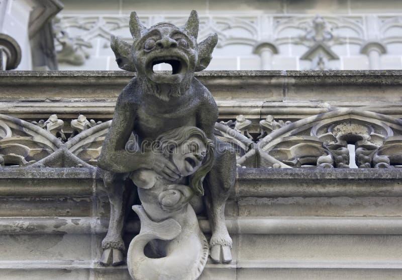 Devil Gargoyle, Minster of Bern stock images