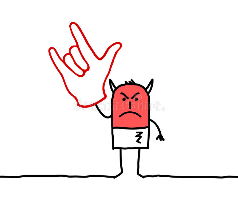 Devil hand sign. Hand drawn cartoon characters - Devil hand sign vector illustration