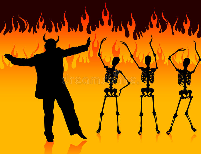 Devil man dancing in hell with fire and skeletons stock illustration