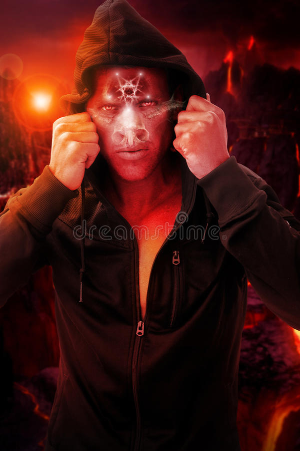 Devil man in hell stock images