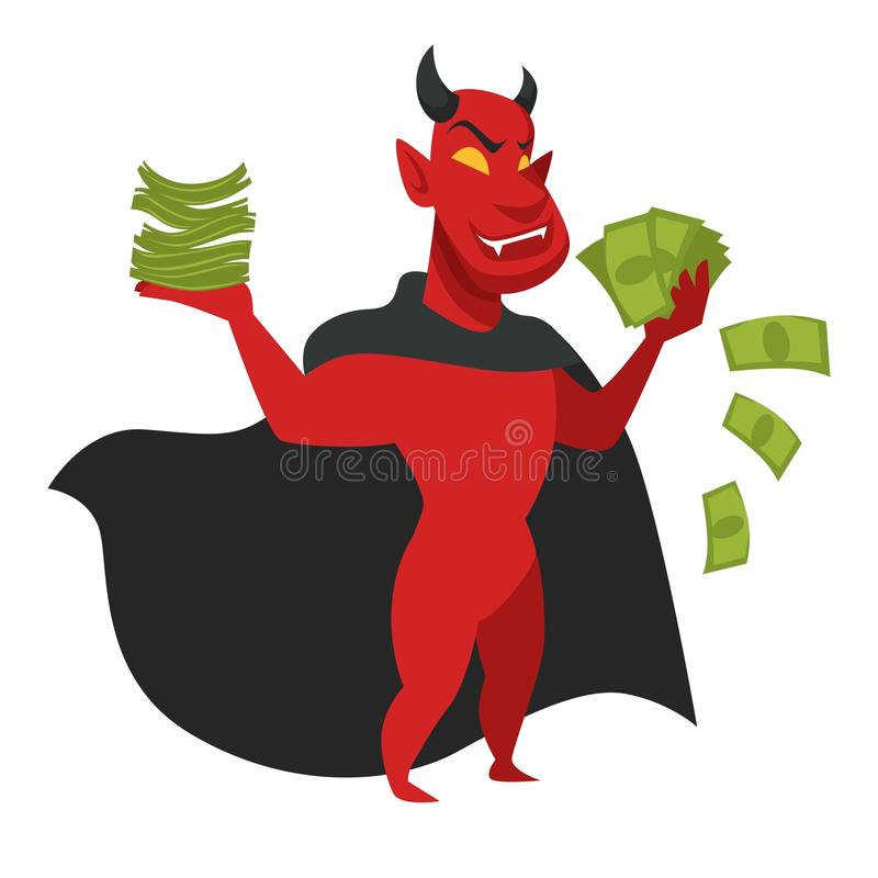 Devil with money in black cloak isolated character. Satan or red devil with money in black cloak isolated character vector king of hell and sin greed and vector illustration