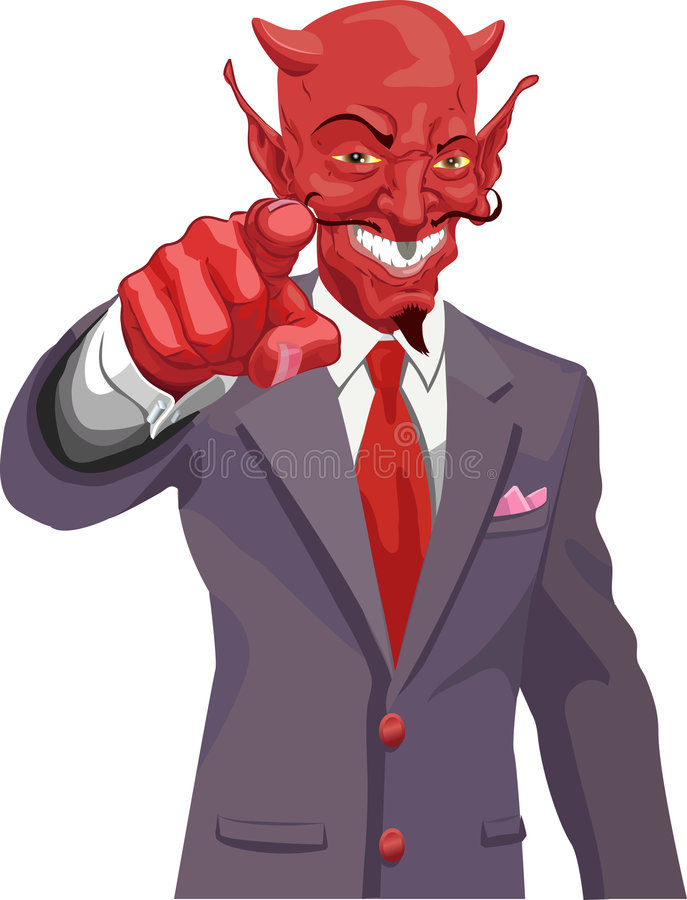Devil pointing. The devil wants you! Is the corporate world asking you to sell out or just the tax man wanting his due? No meshes used royalty free illustration