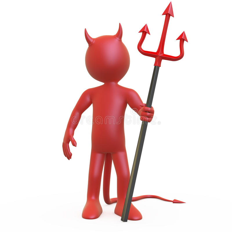 Devil posing with his red and black trident royalty free illustration