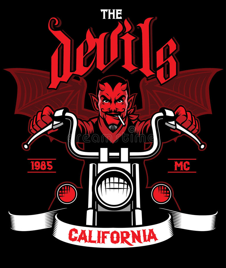 Devil rides the motorcycle vector illustration