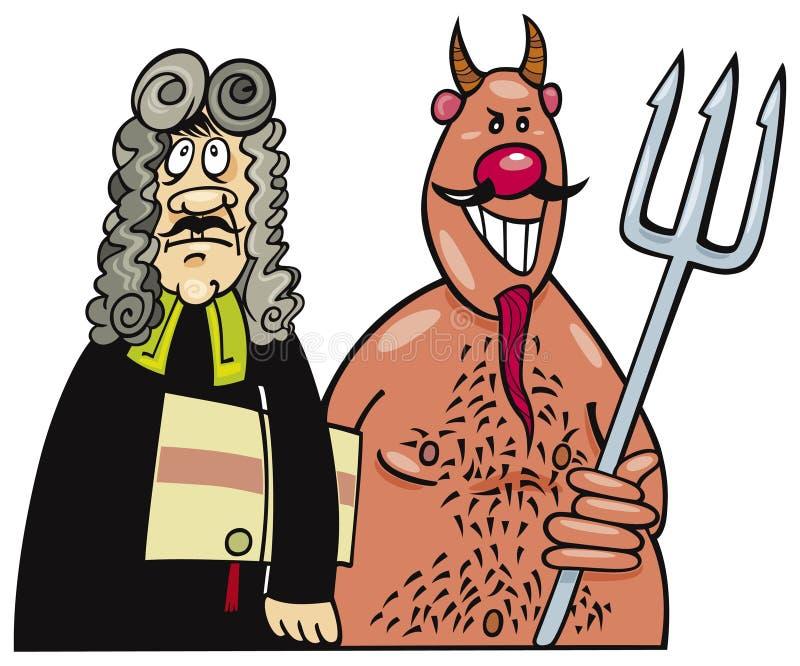 Devil's advocate. Cartoon vector illustration of devil and his advocate vector illustration
