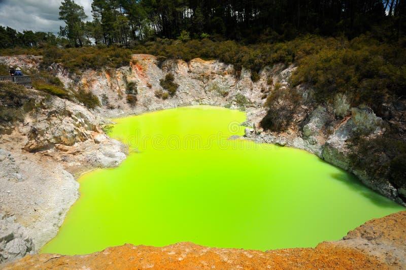 Devil's Bath, Wai-O-Tapu Thermal Wonderland. Amazing colours of the Devil's Bath, Wai-O-Tapu Thermal Wonderland, Rotorua, New Zealand stock photography