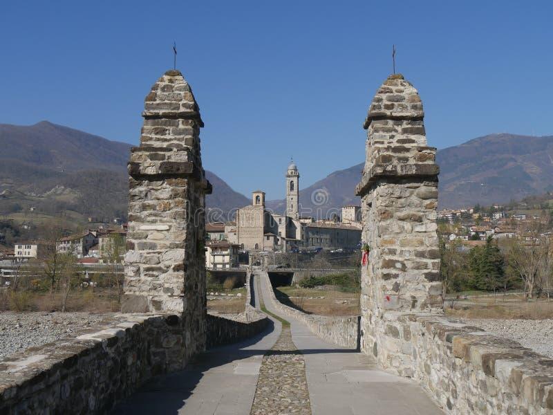 Devil`s bridge in Bobbio. Stone arch bridge over the Trebbia river that was a Roman road in medieval times royalty free stock photo