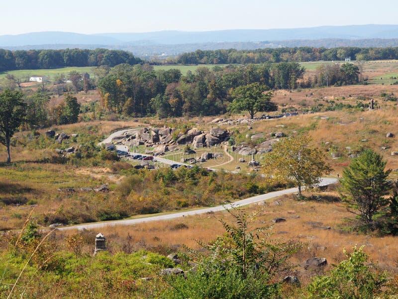 Devil's Den on the Gettysburg Battlefield. High angle view of Devil's Den on the Gettysburg Battlefield in Pennsylvania. Photo was taken from Little Round Top stock photo