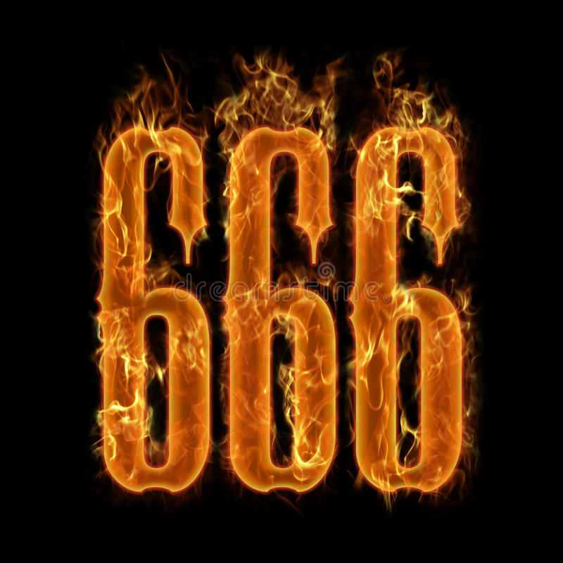 Devil's number 666. Burning 666 numbers at black background vector illustration