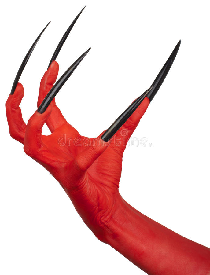 The devil's red claw. The devil's red claw with very long nails, white background royalty free stock photo