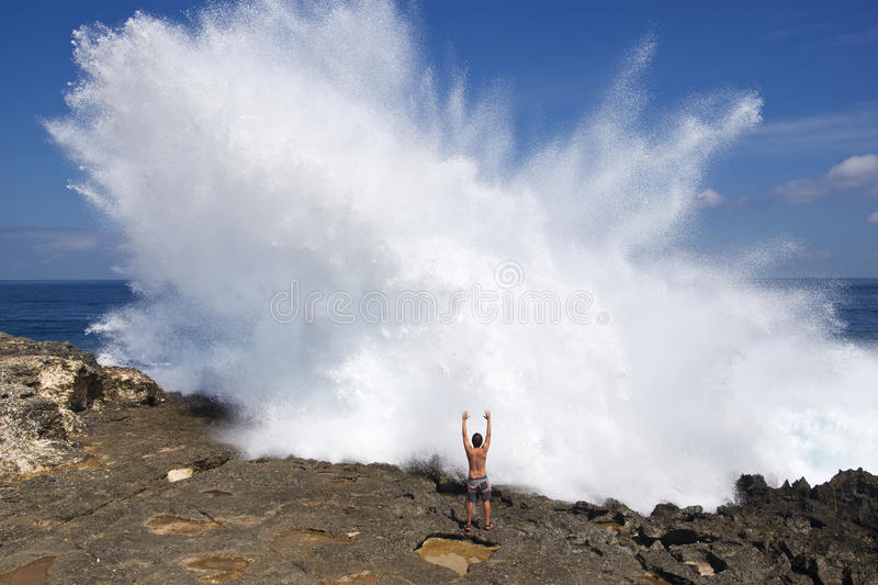 Devil's tear bay. On Lembongan island stock images