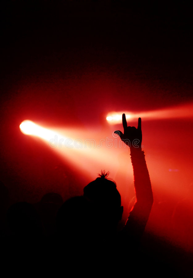 Devil Sign And Spotlight Stock Image