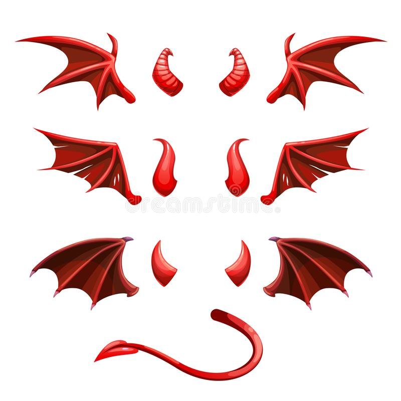 Devil tail, horns and wings. Demonic red elements for the photo decoration. vector illustration