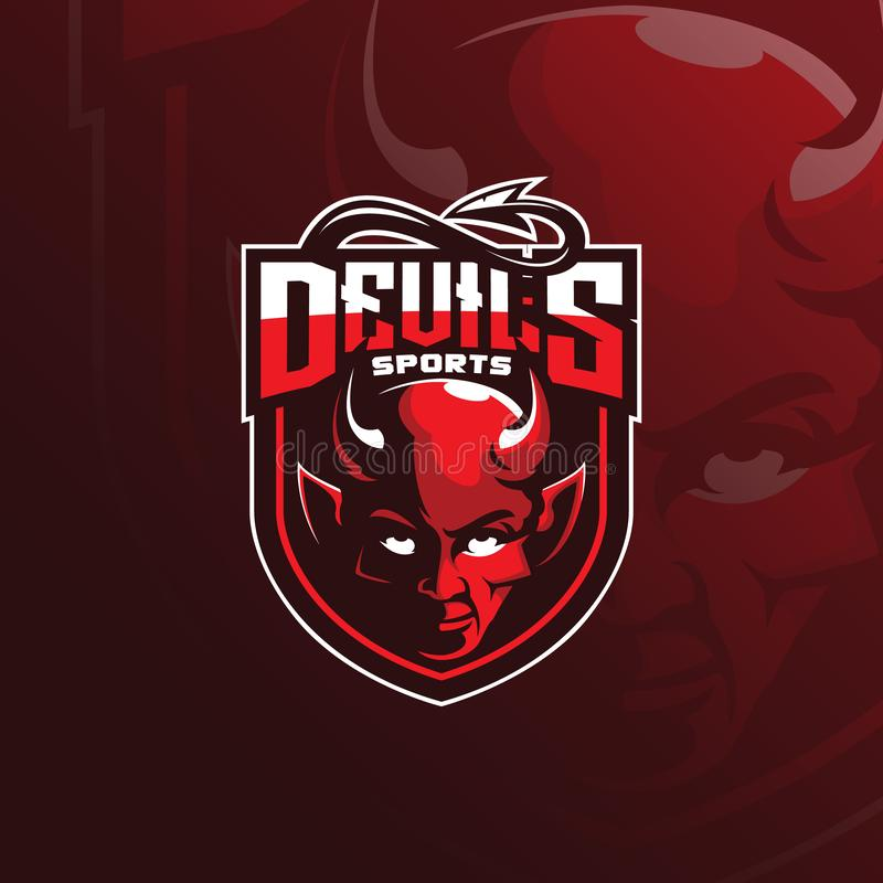 Devil vector mascot logo design with modern illustration concept style for badge, emblem and tshirt printing. devil illustration. For sport and esport team vector illustration
